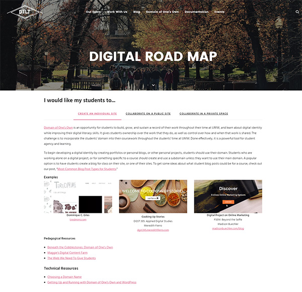 Screenshot of Digital Road Map on UMW DTLT's site (as of March 2017)