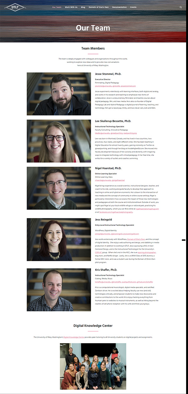 Screenshot of Our Team on UMW DTLT's site (as of March 2017)