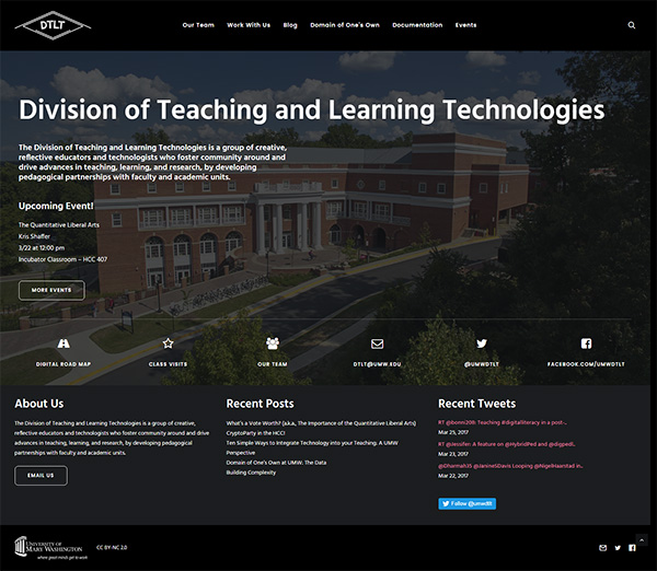 Screenshot UMW DTLT's site home page (as of March 2017)