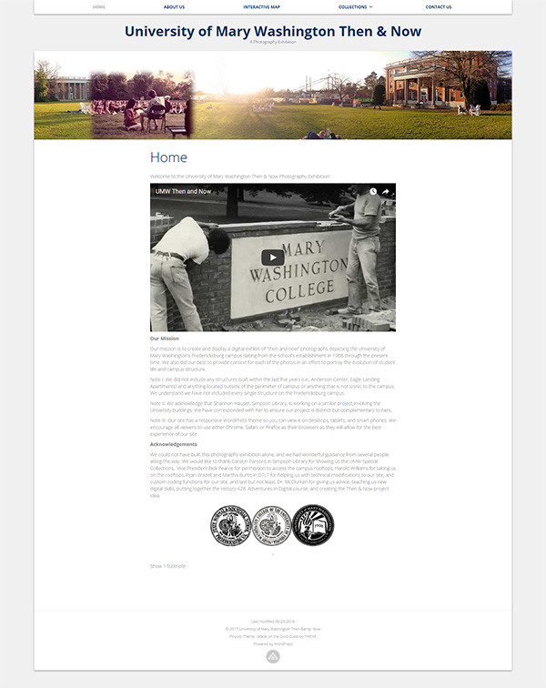 Screenshot of the UMW Then and Now Homepage