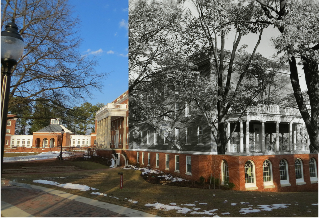 Mashup photo of Randolph Hall Then and Now