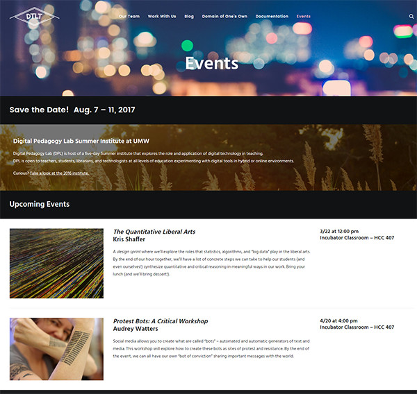 Screenshot of the Events page for DTLT's Website