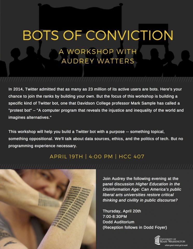 A flyer for Audrey Watter's Workshop about protest twitter bots. Made with Canva