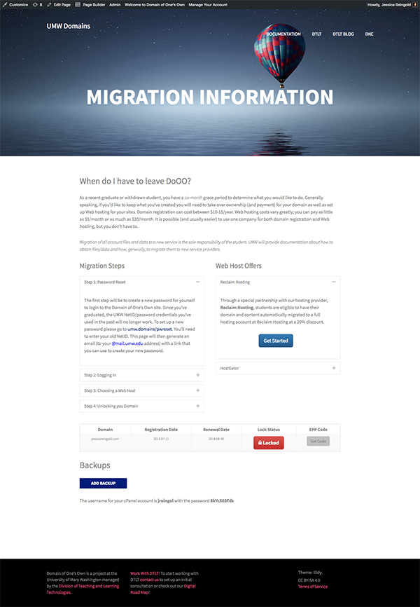 A screenshot of the Migration Information page on Domain of One's Own