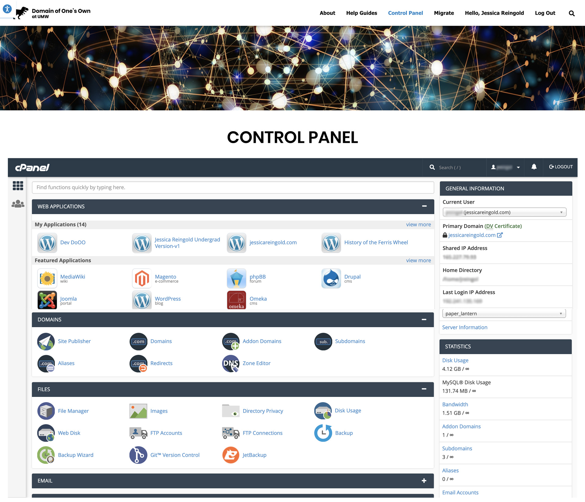 Screenshot of the Control Panel page on umw.domains as of late 2019