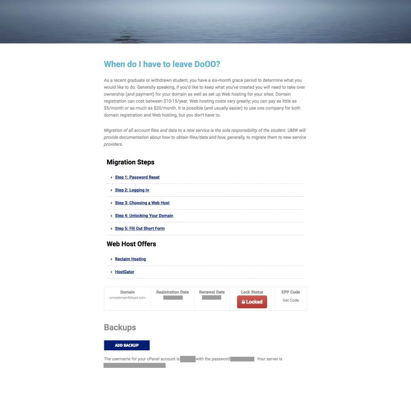 Screenshot of the internal Migration Information page on the Domain of One's Own site
